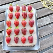 Τούρτα με Τριπλή Μους Σοκολάτας & Φράουλες