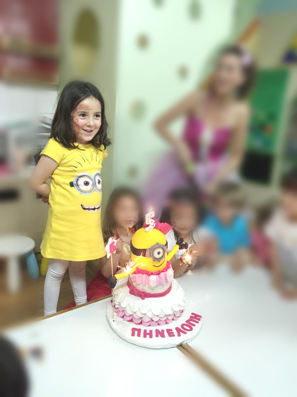 girl minion party cake