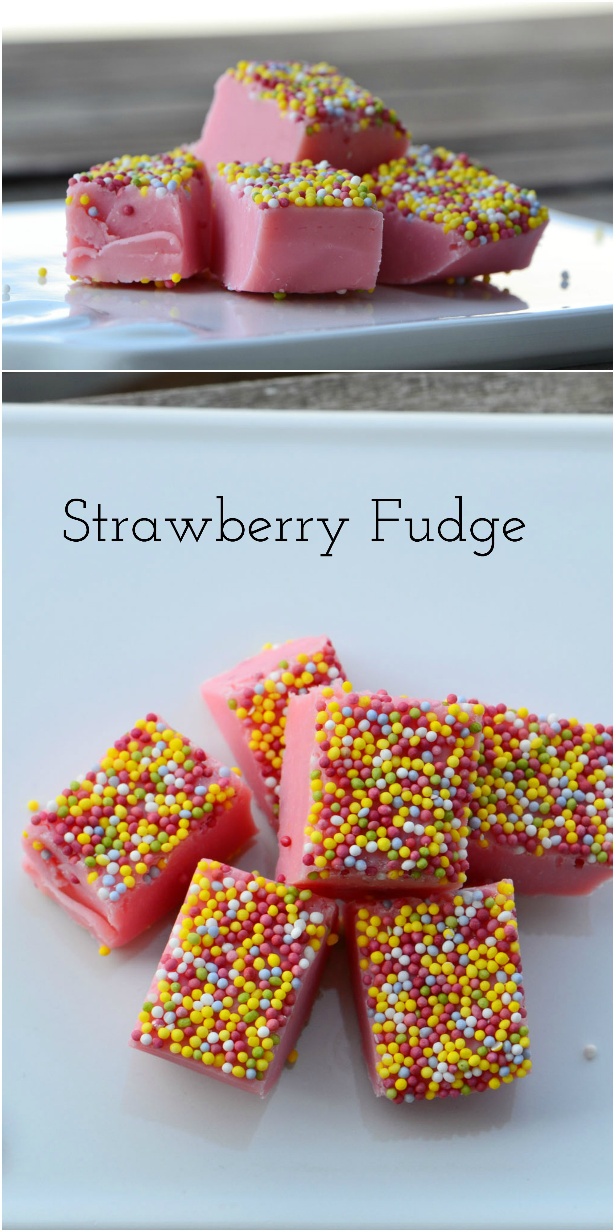 White Chocolate Fudge with strawberry flavor and colorful sprinkles